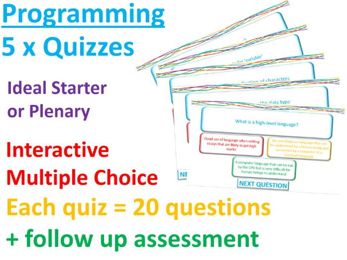 5 x Programming Interactive Quizzes - Revision - Lesson Starters
