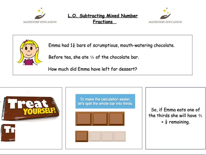 Bar modelling - Subtracting Mixed Number Fractions