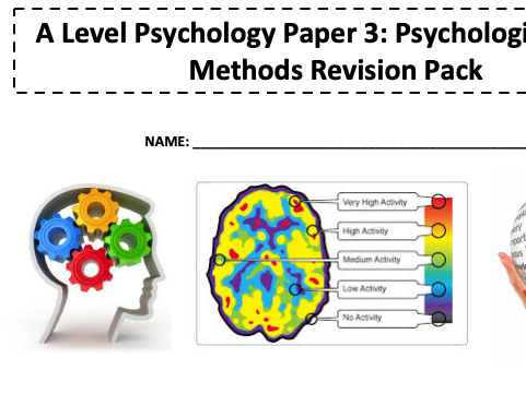 Edexcel A Level Psychology Research Methods revision pack Paper 3