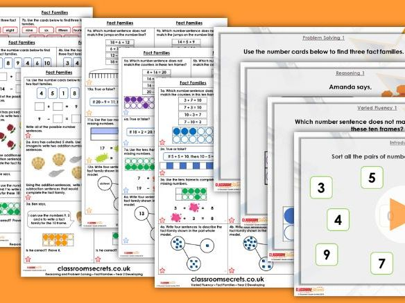 FREE Year 2 Fact Families Autumn Block 2 Step 1 Maths Lesson Pack