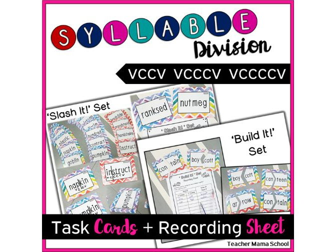 Syllable Center Task Cards - VCCV VCCCV VCCCCV patterns