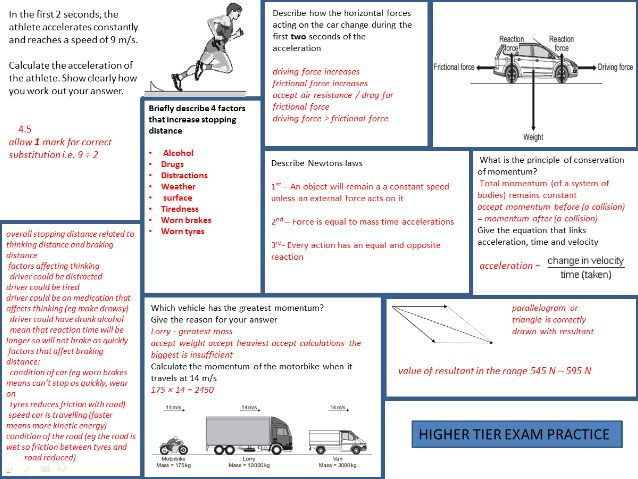 CP2 Forces and motion Revision mat with answers
