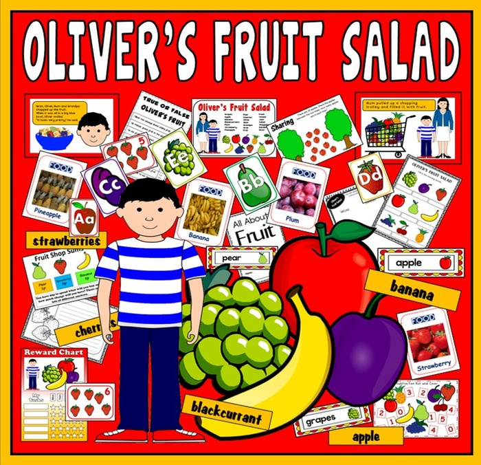 OLIVER'S FRUIT SALAD STORY RESOURCES EYFS KS1 ENGLISH HEALTHY EATING FOOD EARLY YEARS