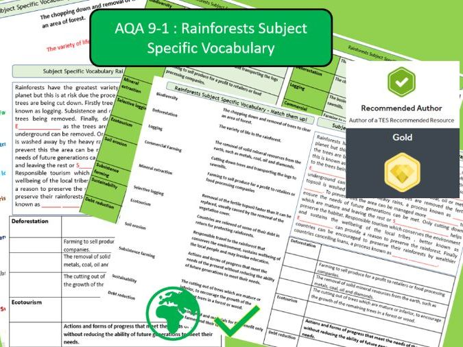 AQA 9-1 GCSE Geography - Tropical Rainforests , Key Vocabulary Literacy Activity Sheets.