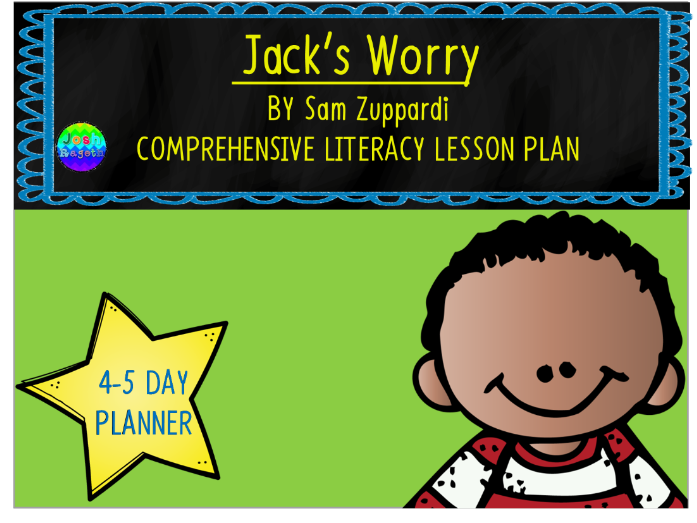 Jack's Worry by Sam Zuppardi 4-5 Day Lesson Plan and Activities