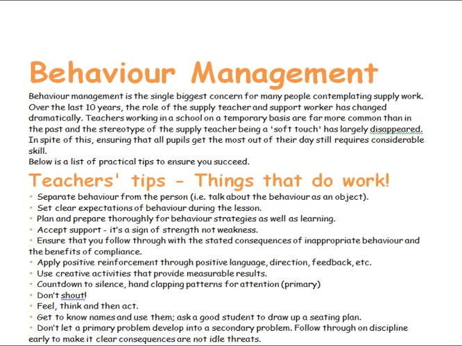 Behaviour Management Tips for Supply/Casual Teachers