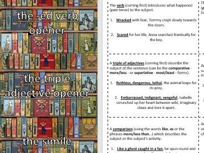 Creative / Descriptive Writing Random Sentence Type Playing Cards