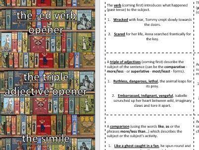 Creative / Descriptive Writing Random Sentence Type Playing Cards