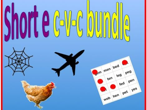 Short e cvc bundle - worksheet and bingo game
