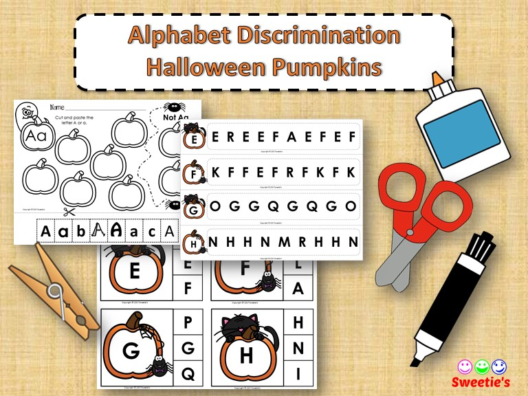 Alphabet Discrimination Activities - Halloween Pumpkin Theme