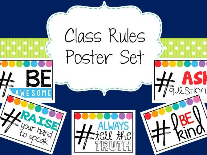 Class Rules Posters (Rainbow Pop Theme)