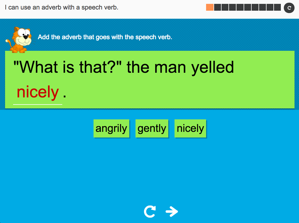 I can use an adverb with a speech verb - Interactive Activity - Year 2 Spag