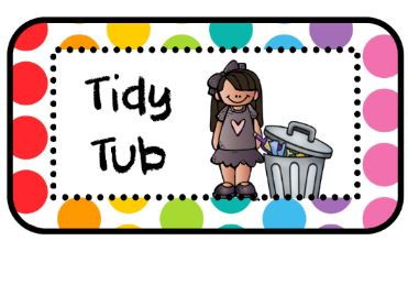 Tidy Tub Labels (2 sizes) - Rainbow Pop Theme