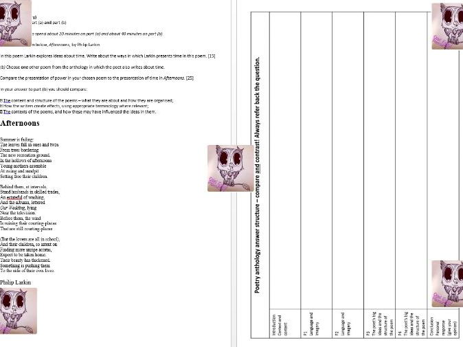 WJEC/EDUQAS Poetry Anthology Mock exam Paper- Afternoons