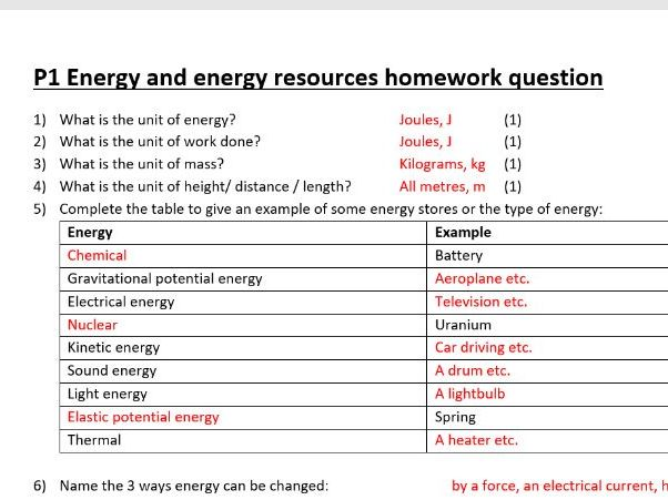 Energy and energy resources homework/ worksheet with answers