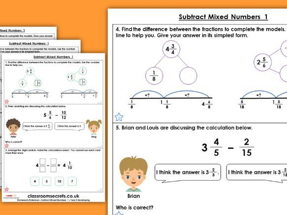Year 5 Subtract Mixed Numbers 1 Spring Block 2 Maths Homework Extension