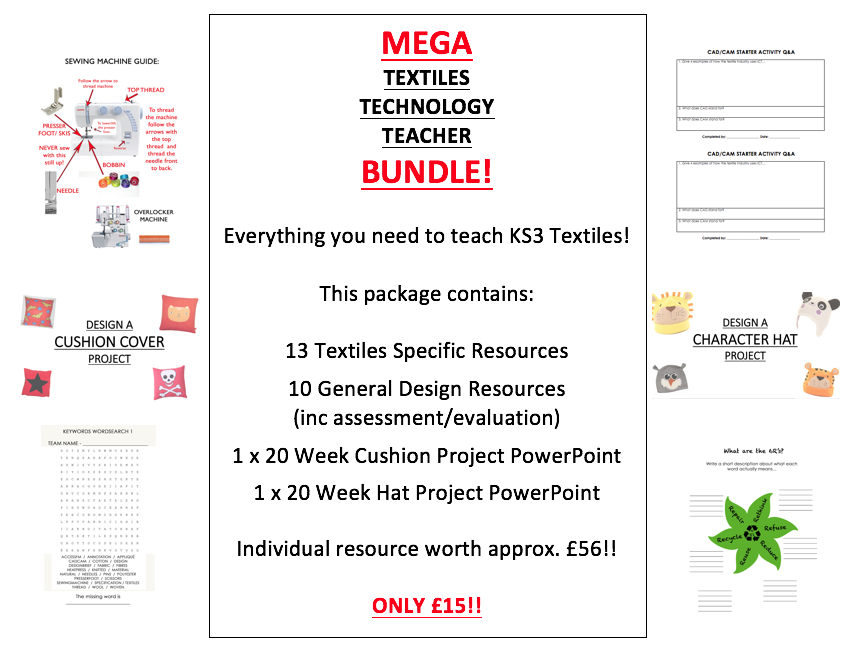 UPDATED: Textiles Design Technology KS3 Complete Project Package - 3 Project Powerpoints + 24 resources + 1 Video  DT  Fully Comprehensive Entire  Full Term