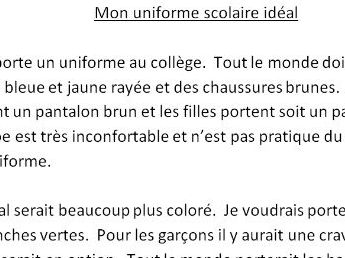 French text about ideal school uniform