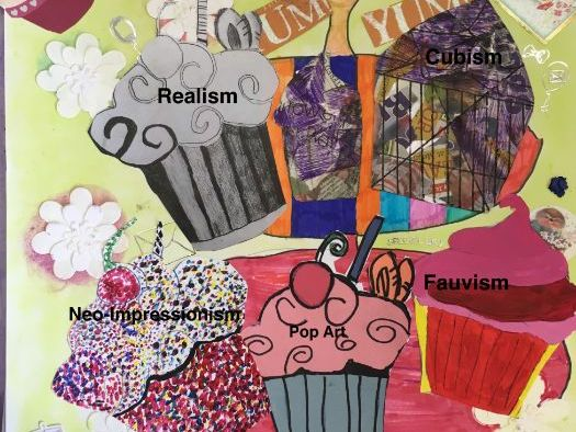 Modern Art Movements project lesson 4: Pop art style cupcake - cutting paper shapes