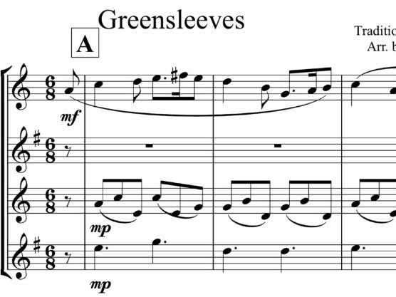 Greensleeves Arrangement for Saxophone Quartet