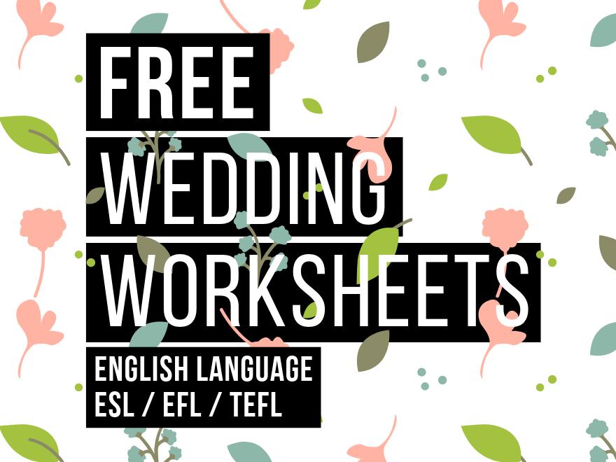 FREE Wedding Worksheets | Intermediate Vocabulary & Writing Tasks | EFL, ESL