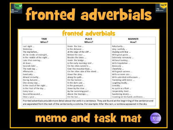 Fronted Adverbials Memo Mat Revision Mat By Krazikas