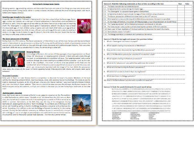 Five Strange Easter events in Switzerland - Reading Comprehension Worksheet / Text