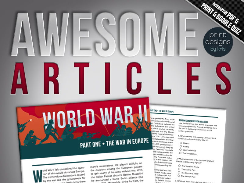High School or Middle School Reading Comprehension - World War II