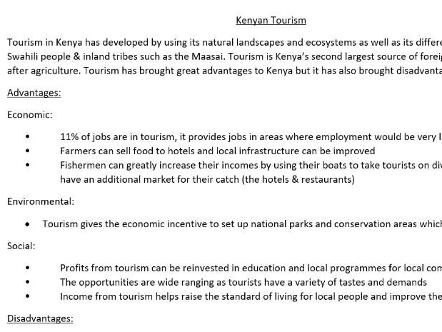Tourism in Kenya- Case Study for GCSE/ A level Geography