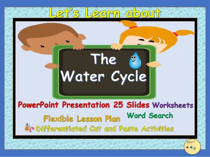 Water Cycle - PowerPoint Presentation, Lesson Plan, Worksheets,  Cut & Paste Activities, Flashcards