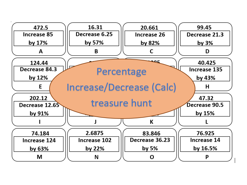 Percentage Increase/Decrease (calc) - treasure hunt