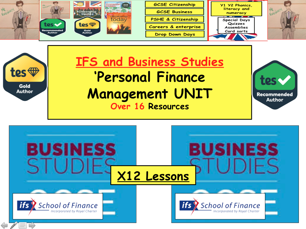 PFM: Personal Finance Management x12 Lessons to teach The Business and IFS unit