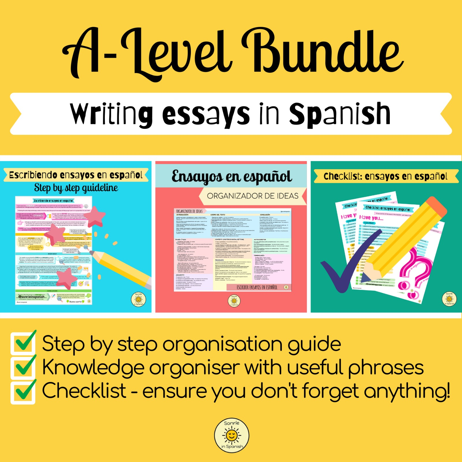 Bundle Spanish A Level essay writing: Knowledge organiser, guidelines & checklist. Para para escribir ensayos en español: organizador de ideas, pautas y checklist