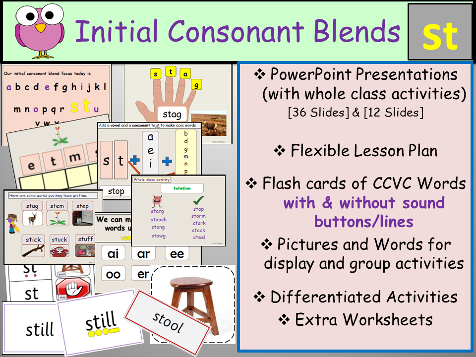 Phonics: Phase 4 Consonant Blend St-CCVC Words, Presentations, Lesson Plan, Worksheets, Flashcards