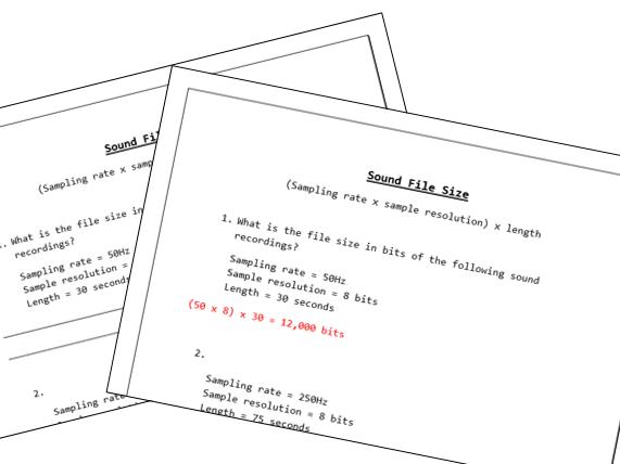 GCSE Sound File Size worksheets (A5)
