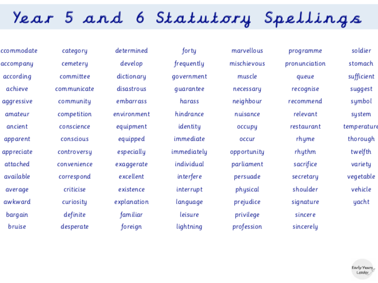Year 5 and Year 6 Statutory Spellings