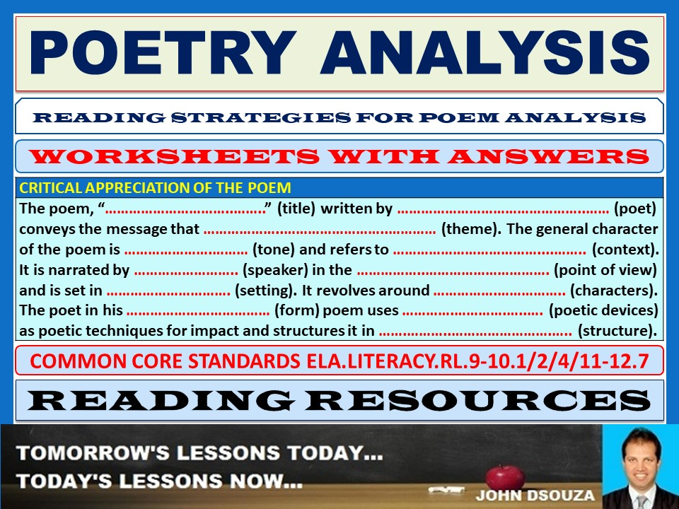 poetry analysis worksheets with answers by john421969. Black Bedroom Furniture Sets. Home Design Ideas