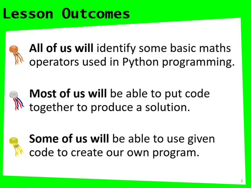 Python Introduction Lessons 1 - 5 + 1a fun lesson
