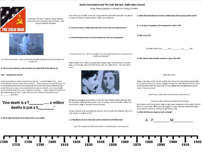 BBC History File—Soviet Communism and The Cold War Ep3. Stalin takes Control - Supporting Worksheet