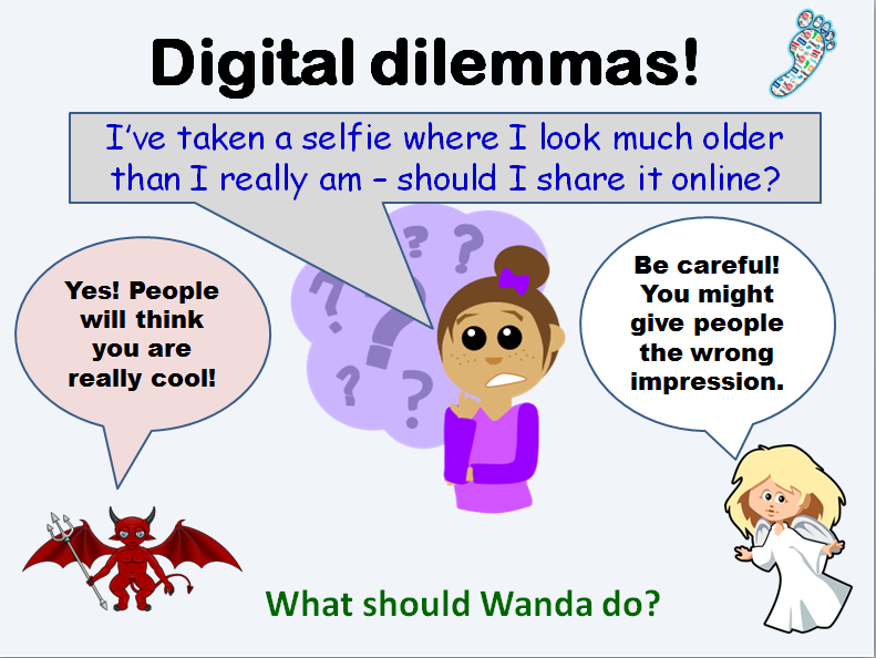 Digital footprints assembly and lesson for internet safety in primary school