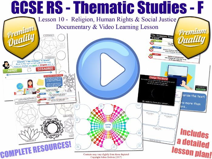 Documentary & Video Worksheet Lesson [GCSE RS - Religion, Human Rights & Social Justice - L10/10] F
