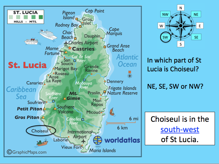 Using compass directions to locate places in St Lucia