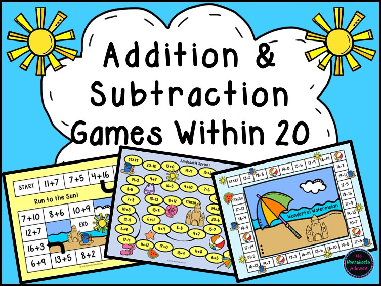 Addition and Subtraction Within 20 Games {Summer Seaside Theme}