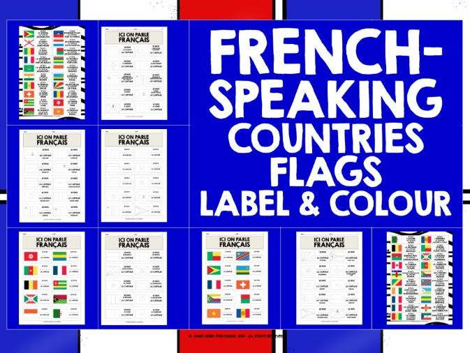 FRENCH-SPEAKING COUNTRIES FLAGS LABEL & COLOUR