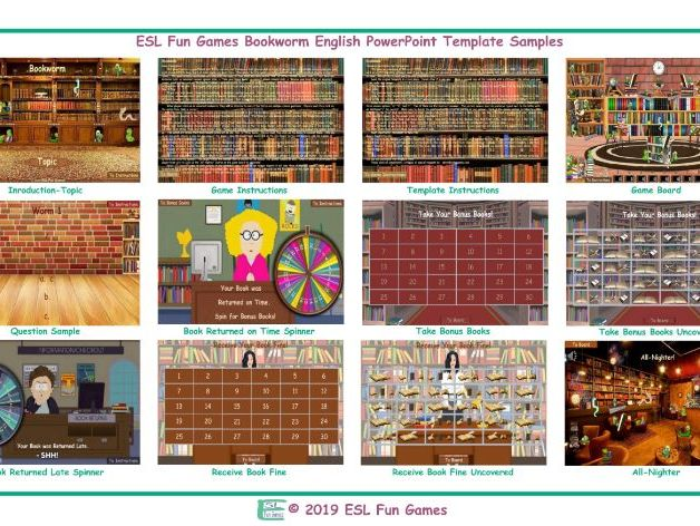 Bookworm English PowerPoint Game Template-An Original by ESL Fun Games