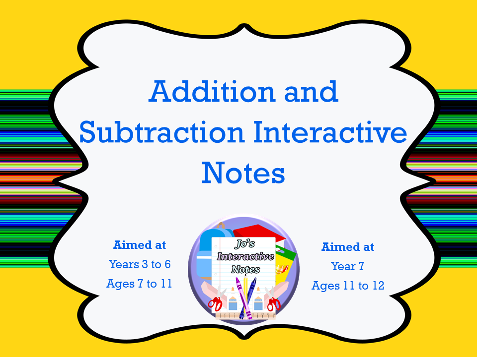 Addition and Subtraction Interactive Notebook Pages