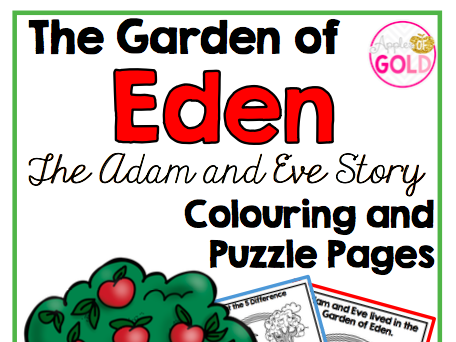 The Garden of Eden- The Adam and Eve Story- Colouring and Puzzle pages