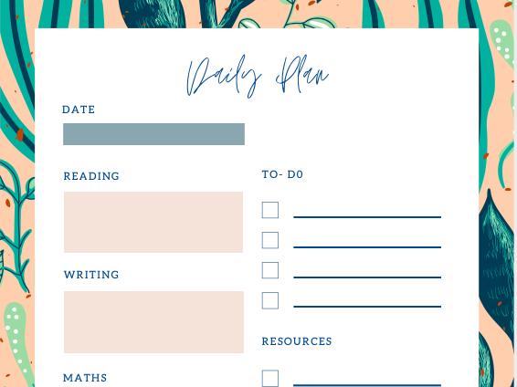 Support staff planning sheet