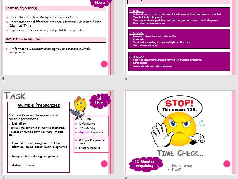 TWINS & MULTIPLE PREGNANCY 2 HOUR LESSON PPT, VIDEO & TASK-DIFFERENTIATED -  CHILD DEVELOPMENT