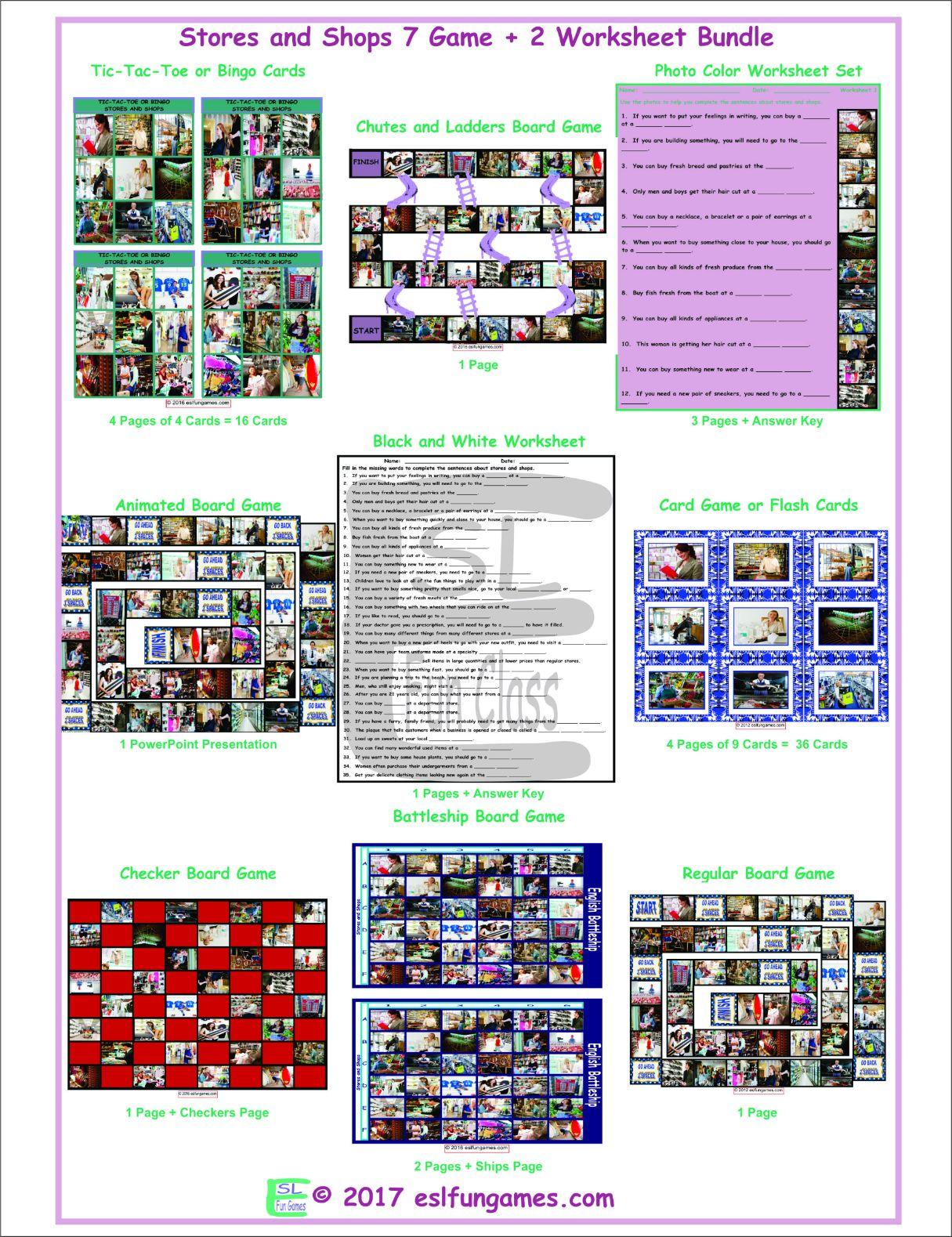 Stores and Shops 7 Game Plus 2 Worksheet Bundle